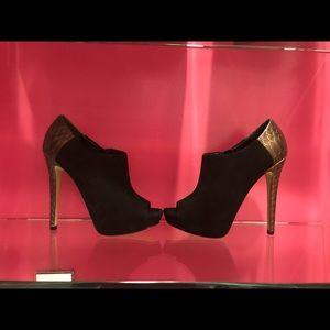 Boutique 9 black and gold suede peep toe platform